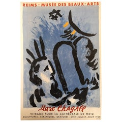 Original Vintage Poster, Reims - Marc Chagall Musee Des Beaux-Arts Original 1960