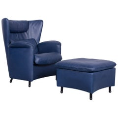 De Sede DS 23 Leather Armchair Blue One-Seat Set with Footstool