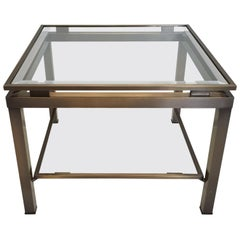 Brass square side table with two glass shelves by Maison Jansen, 1970s