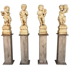 19th Set of Four Cast Iron Fiske Cherubs Boy Garden Statues with Stands