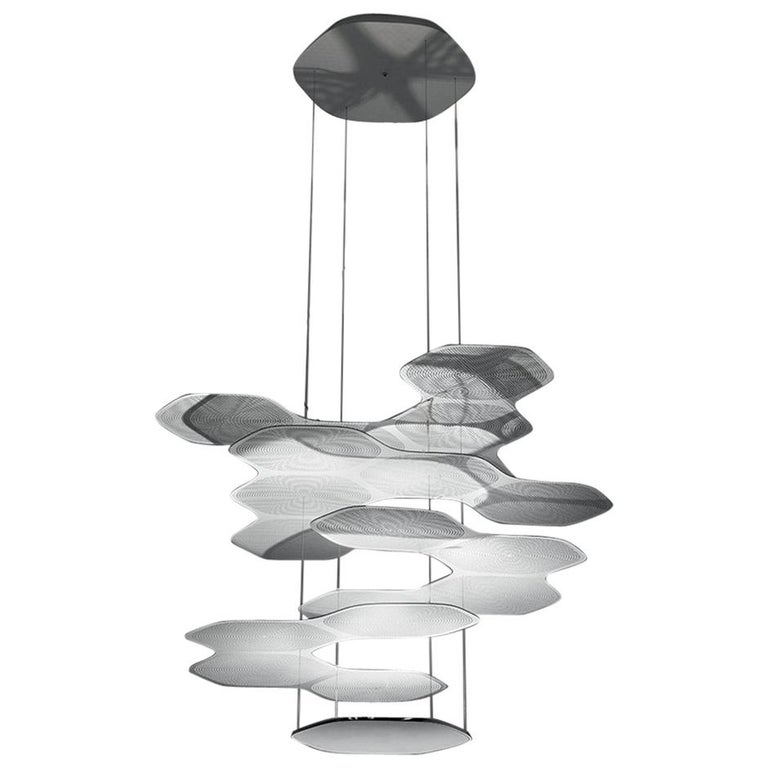 Artemide Space Cloud Led Pendant Light in Grey with Extension by Ross Lovegrove
