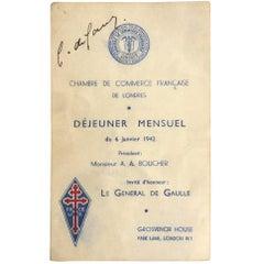 Charles De Gaulle signed WWII Menu