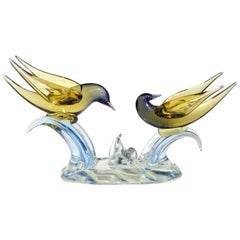 Murano Sommerso Yellow to Blue Italian Art Glass Courting Birds Doves Sculpture