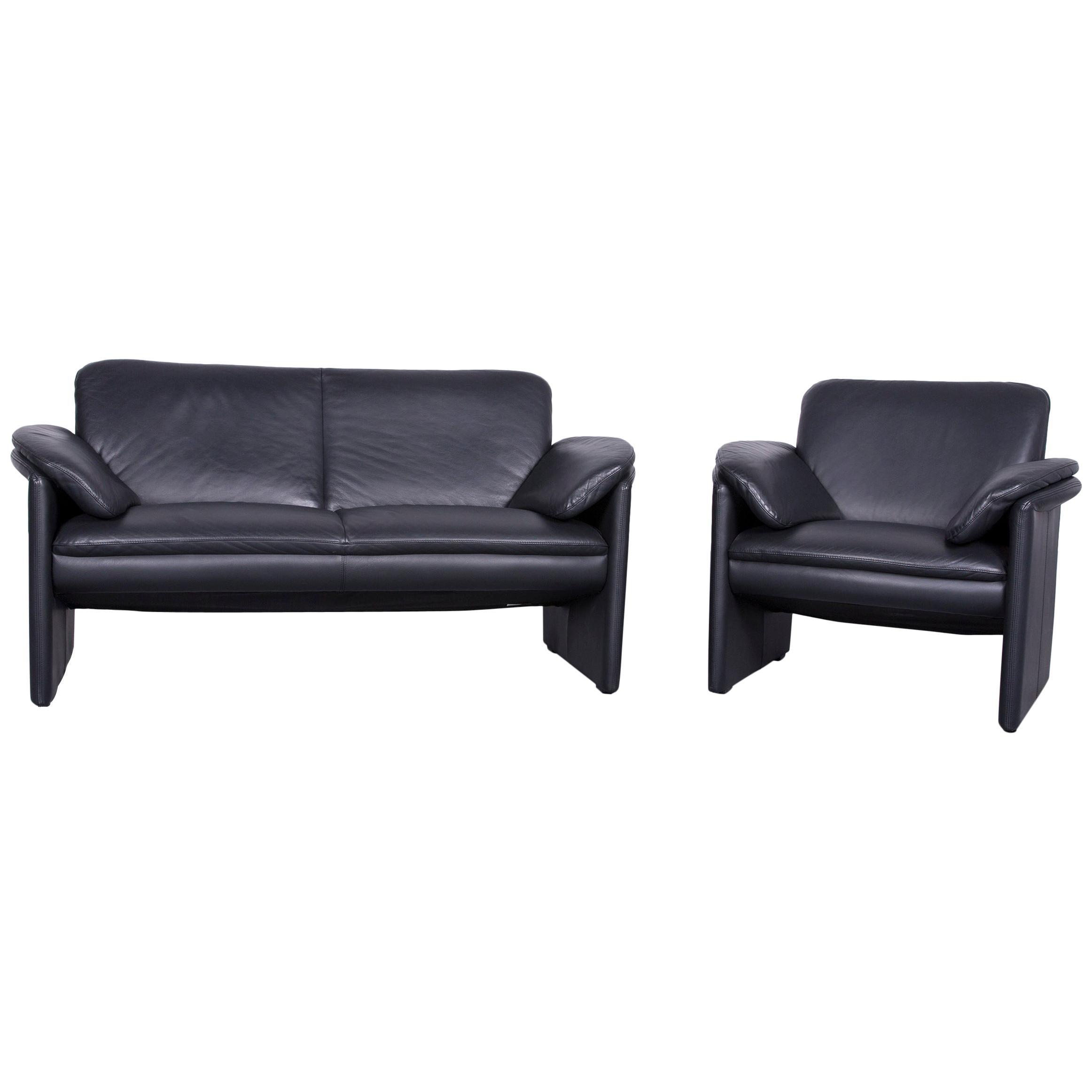 Leolux Catalpa Designer Sofa Armchair Set Leather Black Couch Two Seat
