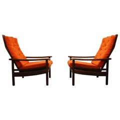 Pair of Teak Wooden Scandinavian Lounge Chairs, 1960s