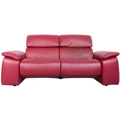 Himolla Designer Sofa Red Two-Seat Couch, Germany, Electric Recliner