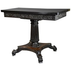 Rare 19th Century Ceylonese Solid Ebony Card/Games Table from the Galle District