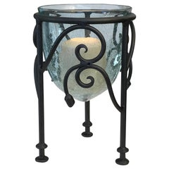Hand-Forged Wrought Iron Candleholder with Crackled Glass