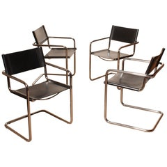 1970s, Tubular Steel and Sturdy Black Leather Dining Chairs by Matteo Grassi