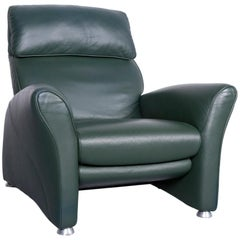 Musterring Designer Leather Armchair Green One-Seat Chair