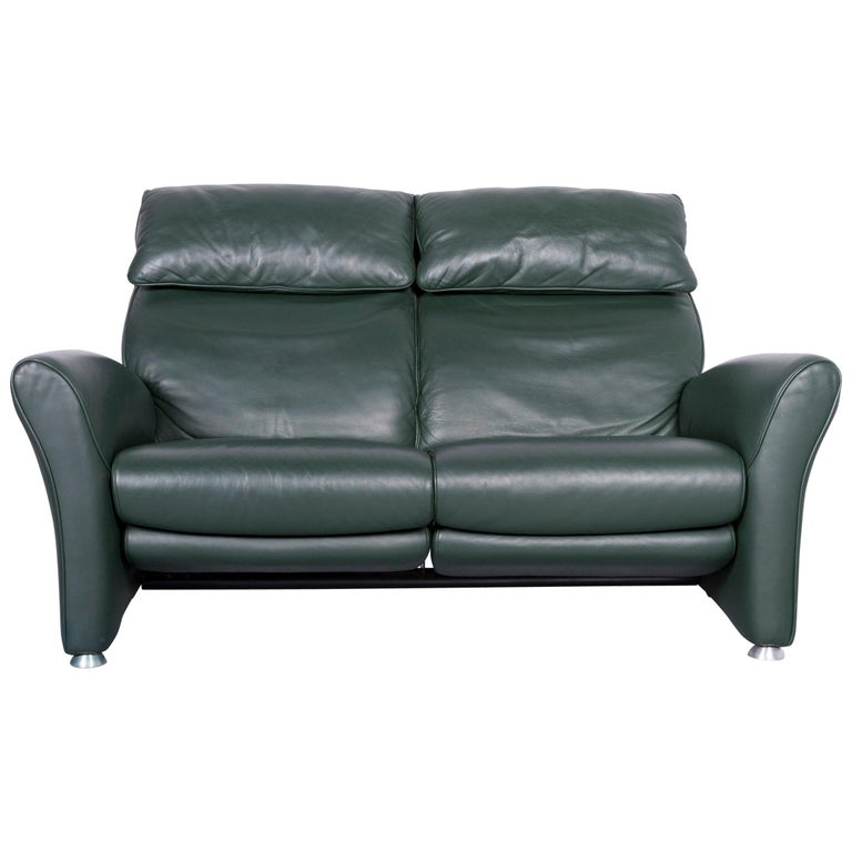 Musterring Designer Leather Sofa Green Two-Seat Couch