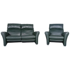 Musterring Designer Leather Sofa Armchair Set Green Two-Seat Couch