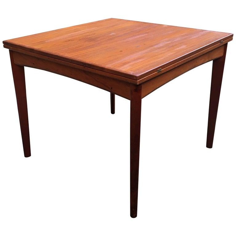 Danish Modern Teak Flip Top Dining Table For