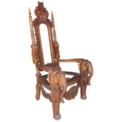 Mahogany Hand-Carved King's Chair with Elephant Motif