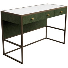 Eros Desk in Antique Bronze Frame Upholstered in Novasuede and Marblo Surface