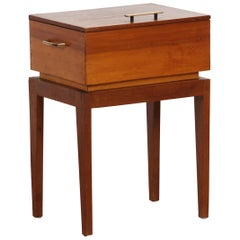 1950s, Teak and Pine Sewing Side Table
