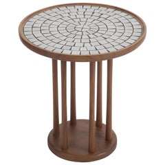 Jordan & Jane Martz Mid-Century Modern Round Walnut and Tile Side End Table