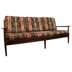 Mid-Century Modern Walnut Open Arm Sofa