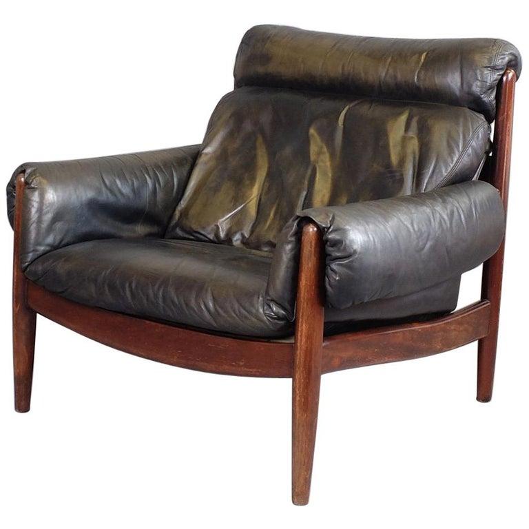 Midcentury Brazilian Leather and Mahogany Armchair