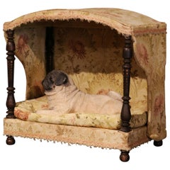 19th Century French Directoire Carved Oak Four-Post Dog Cat House with Fabric