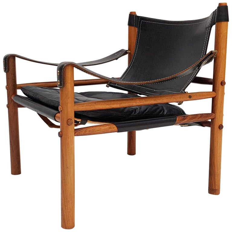 "Vintage Leather and Rosewood ""Sirocco"" Easy Chair by Arne Norell"