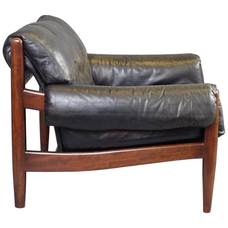 Midcentury Brazilian Leather and Mahogany Armchair, Two