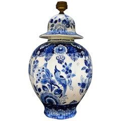 Blue and White Dutch Delft Ceramic Vase Lamp