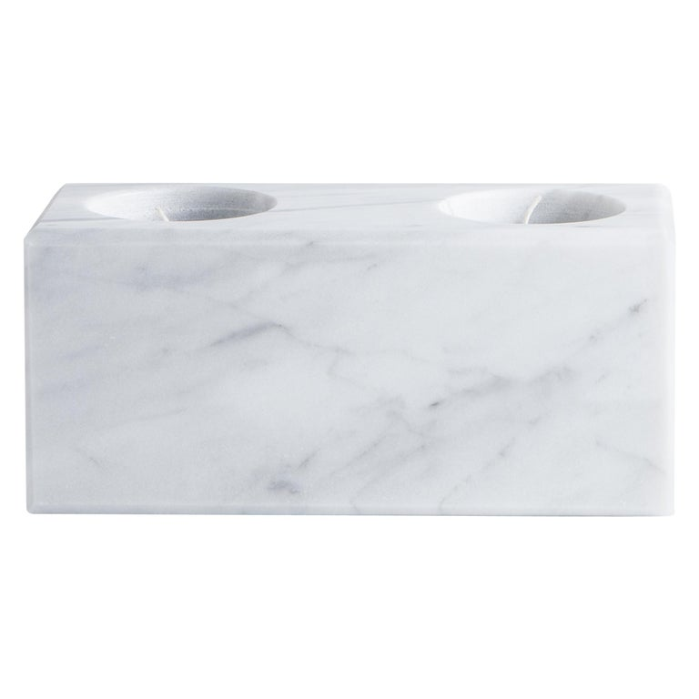 Squared Double Candleholder in White Carrara Marble