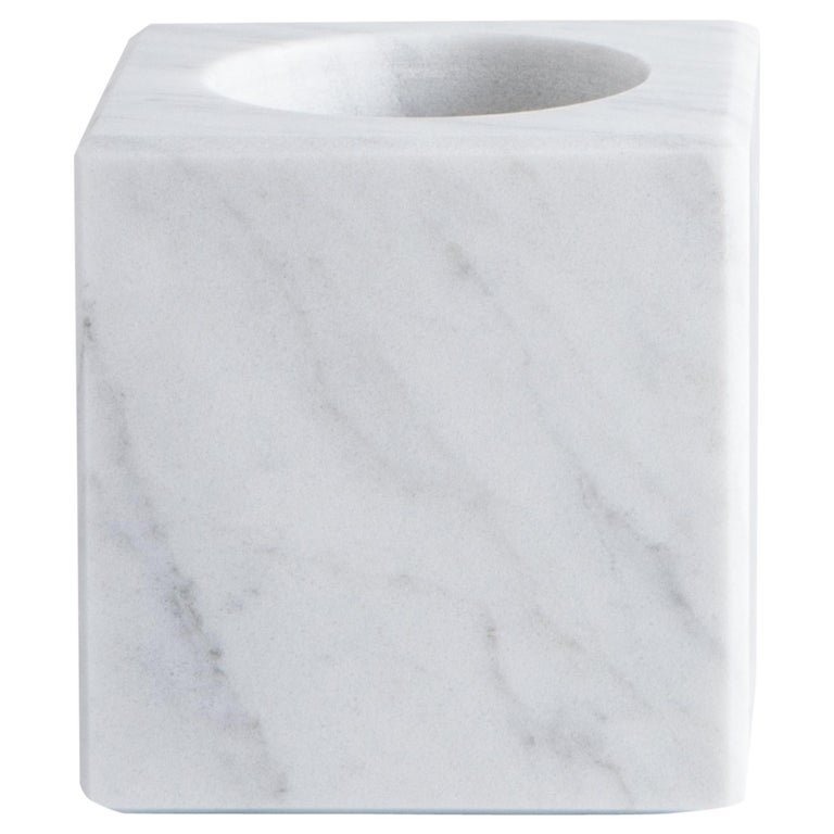Squared Single Candleholder in White Carrara Marble
