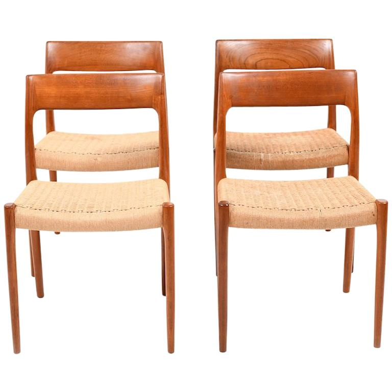 Set of Four Dining Chairs by N.O.Møller, 1960s For Sale