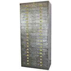 Large Steel Industrial Factory Drawers, circa 1930s