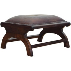 English Arts & Craft Walnut and Leather Upholstered Footstool, circa 1900