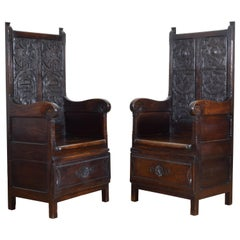 Pair of Italian Carved Walnut Monastic Chairs, 19th Century