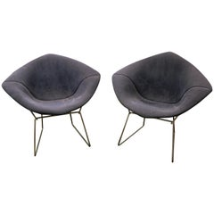 Pair of Mid-Century Modern Harry Bertoia for Knoll Chrome Diamond Chairs