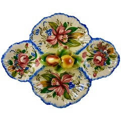 Italian Faïence Nove Rose and Fruit Relish Tray Server
