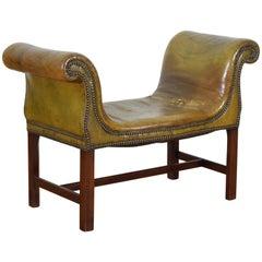 English Mahogany George III Style Patinated Green Leather Window Seat