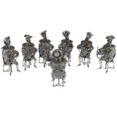 Antique German Solid Silver Set of Seven Musicians Novelty Cups, circa 1910