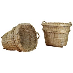 Pair of Large French Wicker Harvest Baskets with Wooden Runners
