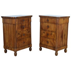 Pair of Italian Veneto Walnut Veneer Bedside Commodes, 2nd quarter 19th Century