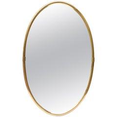 Modern Oval Brass Mirror