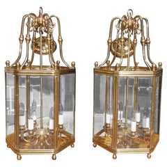 Pair of American Hexagon Brass and Bevelled Glass Hanging Hall Lanterns, C. 1880