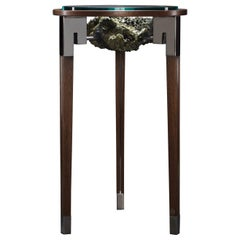 "Studio Greytak ""Classic Peekaboo Table 1"" Epidote, Stainless Steel and Walnut"