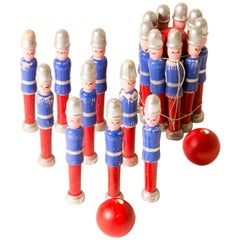 Carved and Painted Children's Toy Skittle Game Set from England Circa 1940