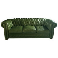 Green Leather Chesterfield Sofa, 1970s