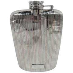 American Art Deco Sterling Silver and 14-Karat Gold Flask