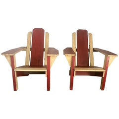 Pair of 1930s Painted Two-Tone Adirondack, Westport Deck Chairs