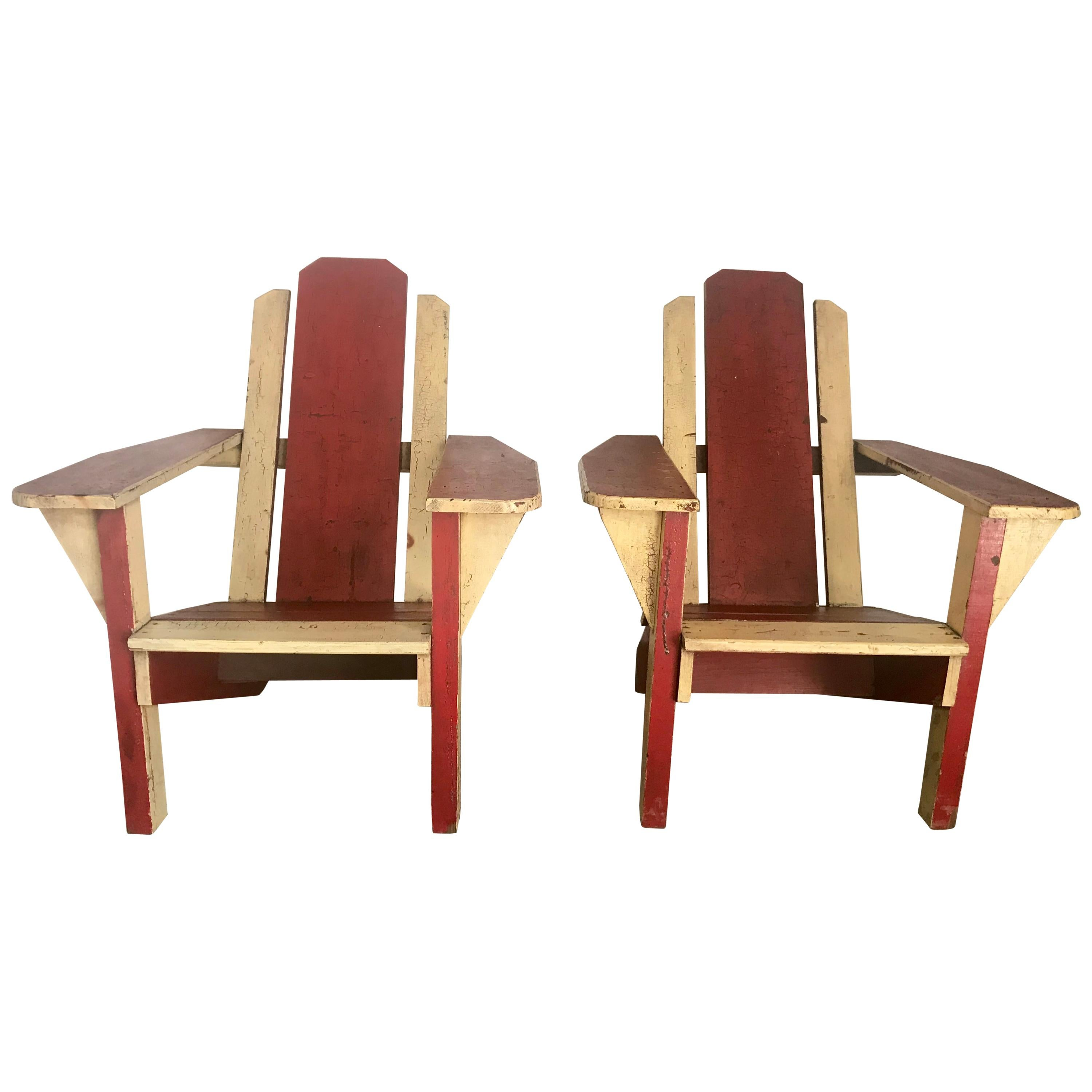 Pair Of 1930s Painted Two Tone Adirondack, Westport Deck Chairs