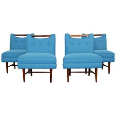 Mid-Century Modern Harvey Probber Set of Four Game Slipper Chairs, 1950s