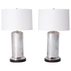Pair of Crocodile Embossed Silver Table Lamps