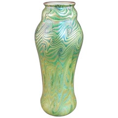 King Tut Swirling Pattern Iridescent Gold Green Tall Art Glass, 20th Century